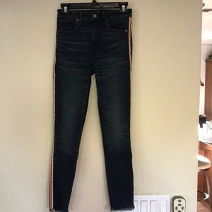 Abercrombie and Fitch blue jeans with color stripe